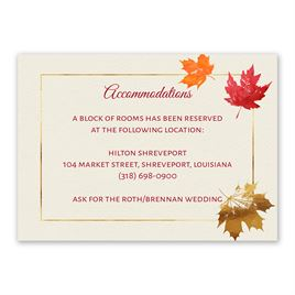 Wedding Reception and Information Cards: Gilded Leaves Information Card