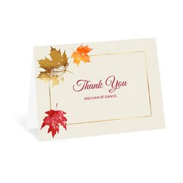 Autumn/Fall: Gilded Leaves Thank You Card