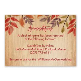 Wedding Reception and Information Cards: Fall Foliage Information Card