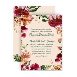 Wedding Invitations: Floral Brushstrokes Petite Invitation