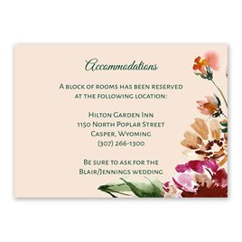 Wedding Reception and Information Cards: Floral Brushstrokes Information Card