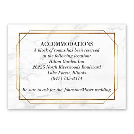 Wedding Reception and Information Cards: Gilded Marble Information Card