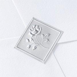 Wedding Favors: Blank Silver Embossed Rose Seal