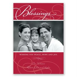 Holiday Cards for Families: Blessings Photo Holiday Card