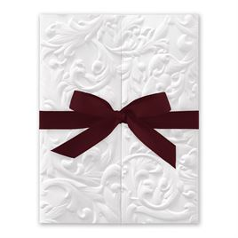 White Vintage with Ribbon -  Burgundy - Invitation