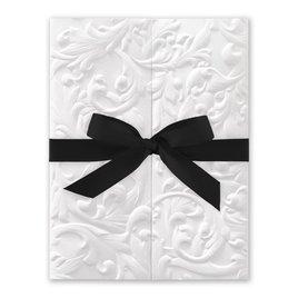 White Vintage with Ribbon -  Black - Invitation