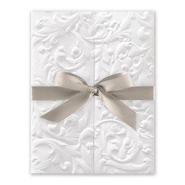 White Vintage with Ribbon -  Greige - Invitation