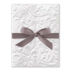 White Vintage with Ribbon -  Mushroom - Invitation