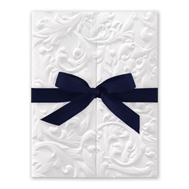 White Vintage with Ribbon -  Navy - Invitation