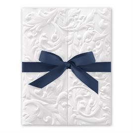 White Vintage with Ribbon -  Steel Blue - Invitation