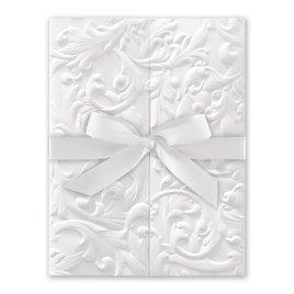 White Vintage with Ribbon -  White - Invitation