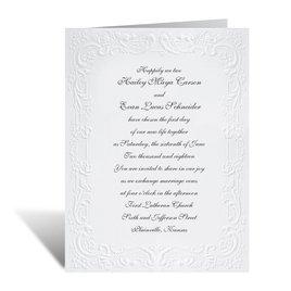 With a Flourish - White Invitation