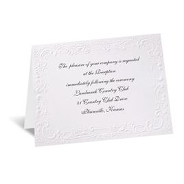 Wedding Reception and Information Cards: With a Flourish - White Reception Card