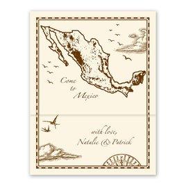 Wedding Invitations: Mexico Treasure Map Ecru Zfold Inv