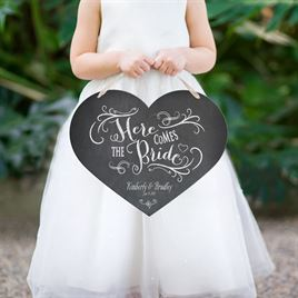 """Heart-Shaped """"Here Comes the Bride"""" Sign"""