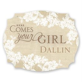 """Burlap and Lace """"Here Comes the Bride"""" Sign"""