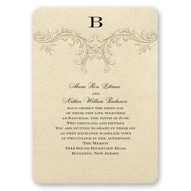 Monogram Wedding Invitations: Golden Vintage Invitation