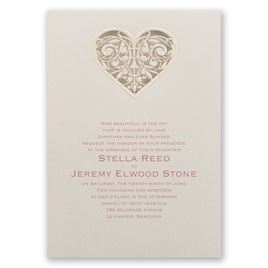 Vintage Wedding Invitations: Touched by Love Laser Cut Invitation