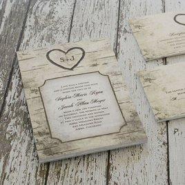 Birch Tree Carvings - Invitation