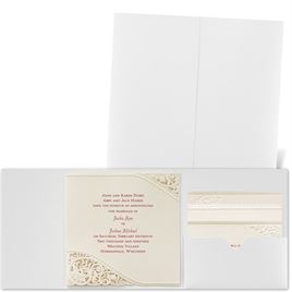 Pearls and Lace - White Shimmer Pocket - Laser Cut Invitation