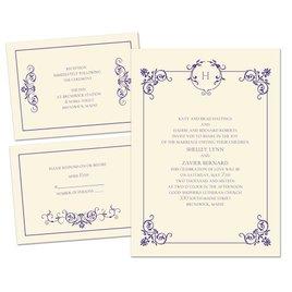 Delicate Scrolls - Ecru - 3 for 1 Invitation