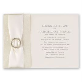 Vintage Wedding Invitations: Shimmering Sash Invitation