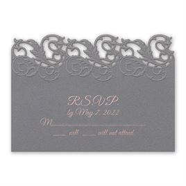 Wedding Response Cards: Rolling Vines Foil and Laser Cut Response Card and Envelope