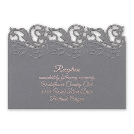 Wedding Reception and Information Cards: Rolling Vines Foil and Laser Cut Reception Card