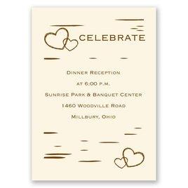Wedding Reception and Information Cards: Birch Bark Heart - Reception Card