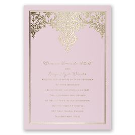 Demure Damask - Pink - Foil Invitation