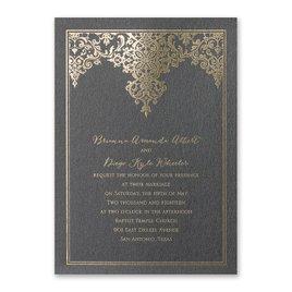 Demure Damask - Black Shimmer - Foil Invitation
