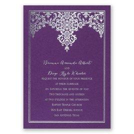 Demure Damask - Purple Shimmer - Foil Invitation