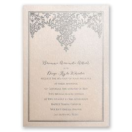 Demure Damask - Blush Shimmer - Foil Invitation