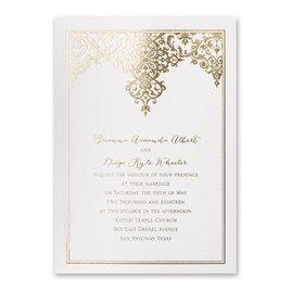 Demure Damask - White Shimmer - Foil Invitation