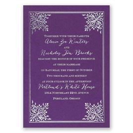Forever Flourish - Purple Shimmer - Foil Invitation
