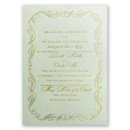 Calligraphy Border - Pistachio Shimmer - Foil Invitation