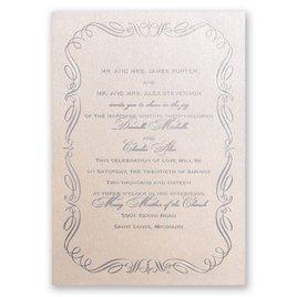 Calligraphy Border - Blush Shimmer - Foil Invitation