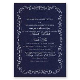 Calligraphy Border - Navy - Foil Invitation