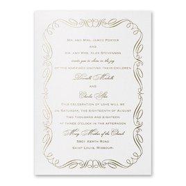 Calligraphy Border - White Shimmer - Foil Invitation