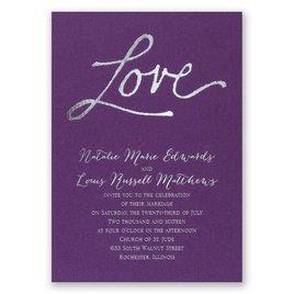 Pure Love - Purple Shimmer - Foil Invitation