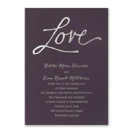 Pure Love - Eggplant - Foil Invitation
