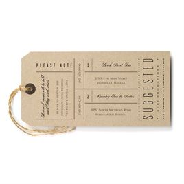 Wedding Reception and Information Cards: Just the Ticket Accommodations Card