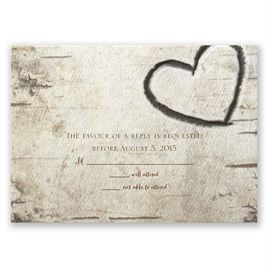 Wedding Response Cards: Birch Tree Carvings Response Card