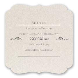 Wedding Reception and Information Cards: Contoured Elegance Reception Card