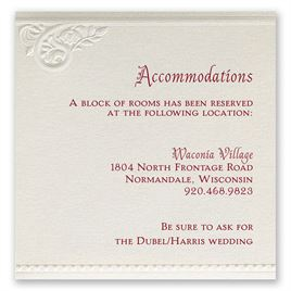 Wedding Reception and Information Cards: Pearls and Lace Accommodations Card