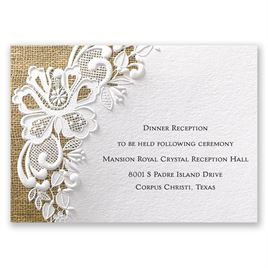 Wedding Reception and Information Cards: Lacy Dream Reception Card