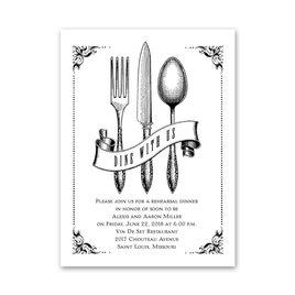Rehearsal Dinner Invitations: Vintage Silver Petite Rehearsal Dinner Invitation