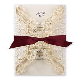 Royal Details - Burgundy- Laser Cut Invitation