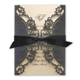 Royal Details - Black Shimmer - Laser Cut Invitation