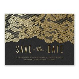 Lace Reflections - Black Shimmer - Foil Save the Date Card